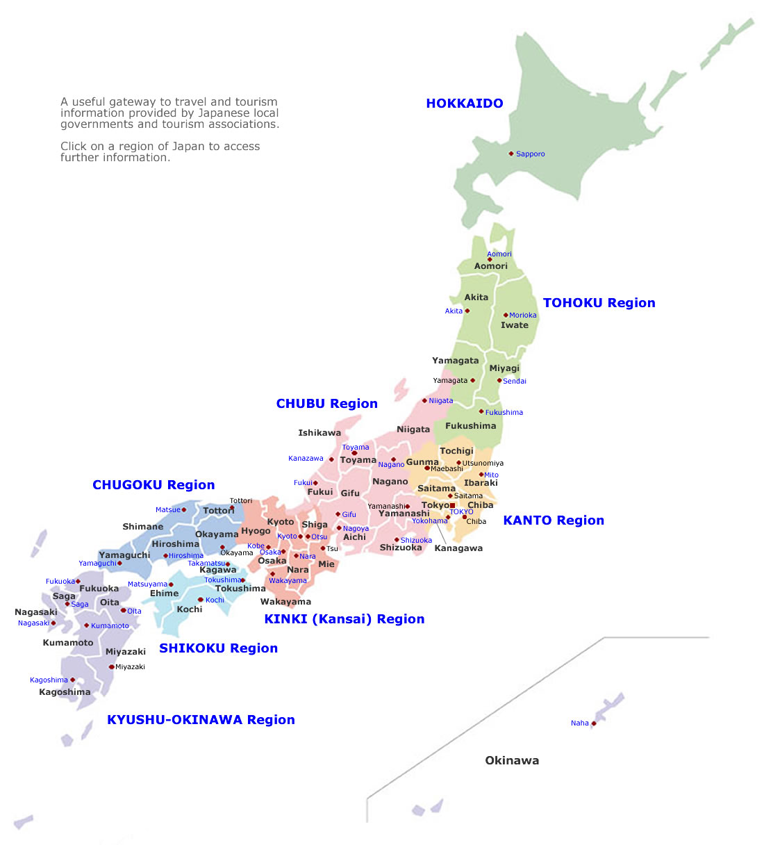 Japan cities map – Japan Tourist Map